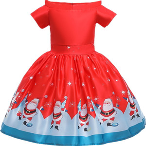 Christmas Red Girls Dress for Kids Santa Clus Snowman Princess Costume Headband Children New Year Party Vestido Xmas Clothing HEKD