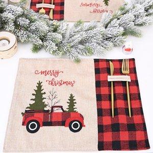 زينة عيد الميلاد شجرة عيد الميلاد الأحمر شاحنة المفارش الجدول حصيرة الشتاء الجاموس منقوشة تحديد الموقع الطعام الرئيسية عيد الميلاد الديكور الجدول AHA1986
