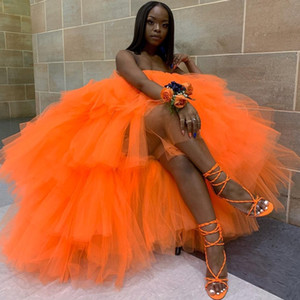 Pretty Orange Tulle Prom Dresses Tiered Ruffles Strapless Hi Lo Custom Made Sexy Evening Gowns Women Formal Wear