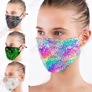 DHL Free Shipping Fashion Bling Bling Sequin Protective Mask Dustproof Washable Windproof Reuse Face Mask Elastic Earloop Mouth Mask FY9208
