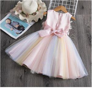 2-8y Toddler Kid Girls Princess Dress Sleeveless Flower Embroidery Tutu Party Wedding Evening Dresses For Girl Children jllJgb