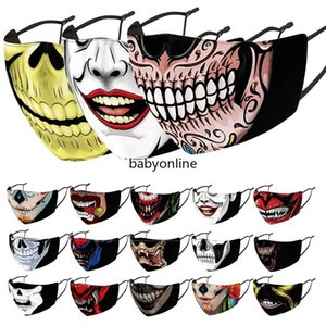 Fashion 3D Printed Face Masks Halloween Party Masks Smoking Uncle Skull Designer Mask Washable Cloth Replaceable Filter Adult Mask