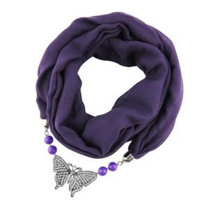 JZHIFIYER eşarp kadın kelebek alaşım kolye mücevher boyunbağı bahar şal başörtüsü feminino moda bandana lüks düz eşarp