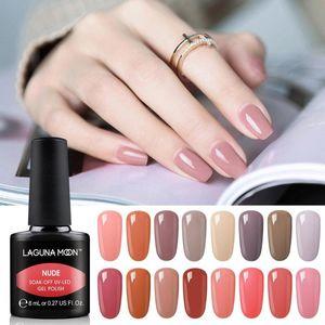 Lagunamoon 8ml New Nude Color Gel Nail Polish Semi Permanent Soak Off UV LED Lamp Enamel Nails Art Varnish GelLak Lacquer