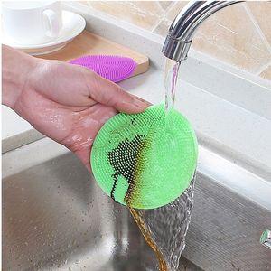 Rodada Silicone Limpeza Escova Anti-Scald Anti-Stick Petróleo Cozinha Prato de Lavagem Escova Limpa Limpar Artefato de Limpeza Higiênico VT1931