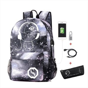 Luminous School Backpack Oxford Cartoon School Bag with usb Cable and Lock and Pencil Bag for Teens Girls Boys Mochila Escolar