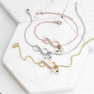 Crystal Infinity Love Pearl Letter Bracelets & Bangles 26 Alphabet Leaf Initial Letter Bracelet Couple Jewelry love gift