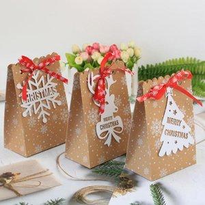 24pcs Christmas Snowflake Kraft Paper Sac Cadeau Snowflake Candy Biscuits au chocolat Emballage Paper Sac Candy Storage décoratif1