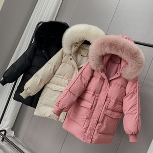 2020 New Winter White Duck Down Jacket Women Medium Long Hooded Down Coat Female Casual Thick Solid Fox Fur Collar Jacket Y1110