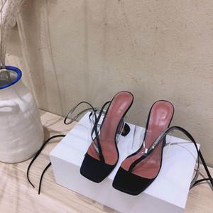 핫 Sale- 새로운 여름 아미나 Muaddi 라인 석 레이스 굽 샌들 가죽 평방 발가락 클립 말굽 뒤꿈치 신발