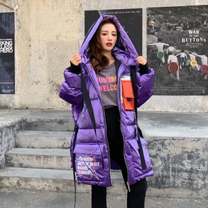 Winter Women Long Down Coat 2020 Fashion Street Loose Large Size Hooded Glossy Letter Print Casual Puffer Jacket Outwear