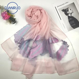 DIANRUO 2020 Spring Summer Women Scarf Fashion Hollow Embroidery Silk Scarves Lady Shawls and Wraps Sunscreen Beach Stoles R555