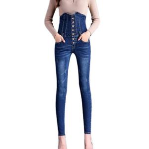 Женщины Весенняя мода Упругие кнопки отбеленные высокой талии Тонкий джинсы Denim карандаш брюки Vintage джинсы Женский Плюс Размер