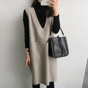 One Piece Women Pregnancy Vest Dress Mama Clothes Korean Knitted Knee Length Solid Causal Dress Japanese 2021 New Spring Autumn