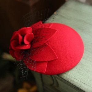 Lã Pura Vintage Hat Cap Mulheres Malha Flower Fedora Headwear elegante senhoras Autumn Casquete