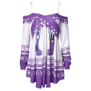 SHUJIN Women Christmas Blouse Long Sleeve Off Shoulder Sweatshirt Snowflake Print Sling Blouse Fashion Female Tops Pullover