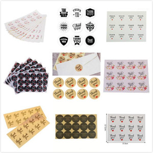 30-240pcs Vintage Flower Thank You Ellipse Sealing Label Adhesive Kraft Seal Sticker For Baking Gift Stickers Funny DIY Work1