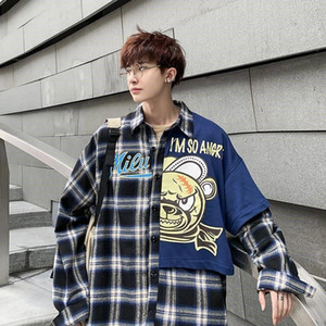 2020 New Boys Casual Plaid Shirt Japanese Style Tide Teen Student Long Sleeve Hong Kong Style Ins Korean Trend Harajuku