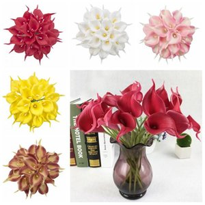 Artificial Calla Lily Flower Hand Bouquet Flores Simulation Real Touch Flowers Wedding Decoration Fake Flowers Party Supplies Lxl382