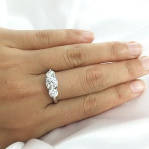 AEAW 2ctw 6.5mm Round Cut Engagement&Wedding Moissanite Diamond Double Halo Ring Platinum Plated Silver 0126