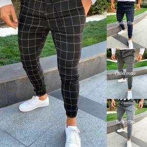 Mens Casual Slim Fit Calças Esportivas Tracksuit Skinny Juntos Sweatpants Mens Slim Fit Stretch Stretch Skinny Calças xadrez Homens Stretch1