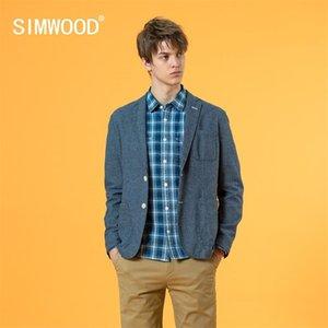 Simwood Sonbahar Yeni Rahat Blazer Erkekler 100% Pamuk Ceketler Moda Artı Boyutu Marka Giyim SJ130294 Y201026
