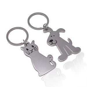 Metal Cute Dog Cat Model Keychain Souvenir Car Key Chain Advertising Gift Keychain Pet Key Ring Memorials WB3389