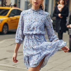 Southpire femmes fleur bleue d'impression Mini robes A-ligne élastique Ruffle Party élégante robe Mesdames trois quarts Vêtements 201028
