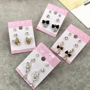 Wholesale Stud Crown Princess Cross Wedding Earrings Fashion Gold Rhinestone Pearl Opal Zircon Trendy Jewelry Free ps1520