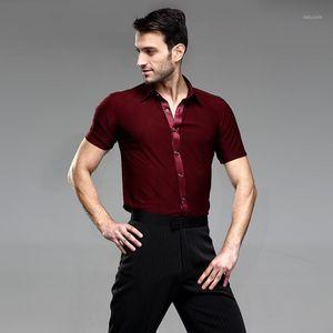 Vermelho Mens Dança Camisas Men's Latin Camisas Salão de Ball Fornecas Men's Latin Dance Trajes Dança Top Ballroom Dancewear1