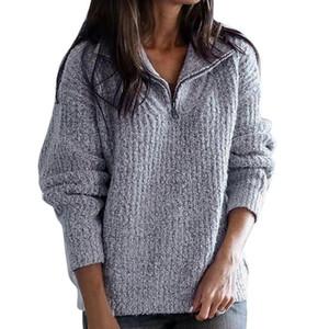 Frauen Pullover Winter Plus Größe gestrickte Kaschmir-Pullover Warm Korean Pullover Fluffy Lässige Zipper Fashion Sweater Famale