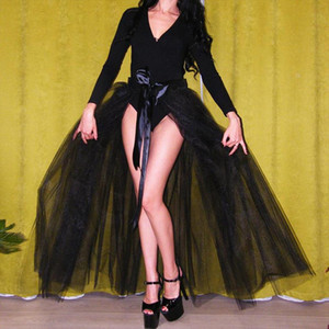 Sexy See Thru Black Tutu Overskirt 2020 A line Tulle Skirt Women 3 Later Tulle Ribbon Sash Bow Detachable Bridal Skirt