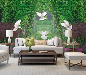Custom 3d Photo Wallpaper Living Room Sofa Flower Vine Pigeon TV Background Wall paper Bedroom Wall papers Home Decor