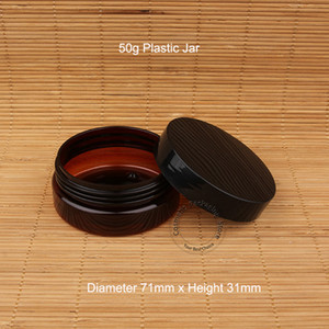 30pcs / Lot Promosyon Plastik Boş 50g Yüz Kremi Kavanoz Amber Yüksek Kalite 50ml Siyah Cap Küçük Kadınlar Kozmetik Kapsayıcı Şişe