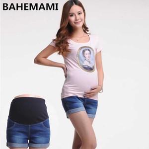 BAHEMAMI Maternity Denim Jeans Pantalones cortos de verano para embarazadas Las mujeres gestantes Ropa pantalones vaqueros embarazadas elástico abdominales 1015