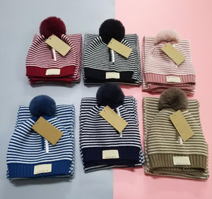 2 Pieces Child Beanies Cap Set Baby Kid Stripe Color Plush Ball Baby Girls Hat And Scarf Set Winter Warm Caps For Boys Girls 1-10 years old