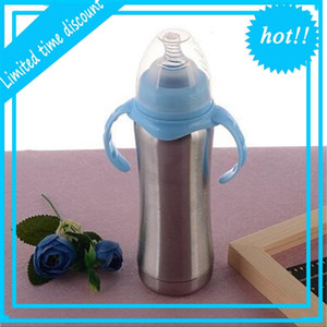 8oz Stainless Steel Sippy Cup Breastmilk Feeding with Natural Nipple Milk Insulated Vacuum Tumbler Double Handle Bottle A03