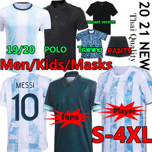 2020 2021 Argentina Jersey Soccer Jersey Messi Dybala di Maria Higuain Kun Aguero Lautaro Football Polo Camicie maschera maschera maschera