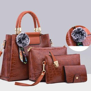 2020 New Crocodile Pattern Four-Piece Suit Handbags For Women Classic Solid Color Shoulder Bag High Quality Leather Bucket Bags