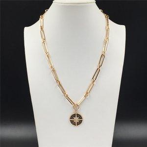 Повседневный цвета золота Покрытие Черный камень Украшенная Star Hollow Круглый диск длинное ожерелье для женщин девушки Boho Gorgeous Довольно ювелирных