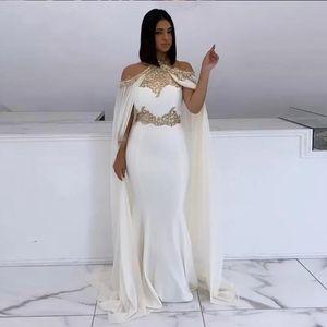 Mermaid Evening Dresses 2021 Halter off shoulder White and Gold Lace vestaglia donna Cape Arabic Dubai Formal Long Elegant Prom Party Gowns