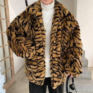 Homem de pele faiouro homem inverno manter casaco quente estilo coreano moda manga longa tigre leopardo impressão engrossar imitação retro casacos soltos