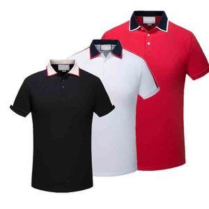 WW Marka Tasarımcısı Yaka Polo Gömlek Lüks T Shirt Yılan Arı Çiçek Nakış Erkek Polos Yüksek Sokak Moda Şerit Baskı Polo T-shirt