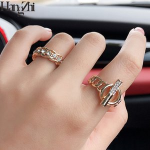 HANGZHI 2020 Korean High Quality Design Imitation Crystal Hollow OT Buckle Chain Adjustable Open Ring for Women Jewelry Party