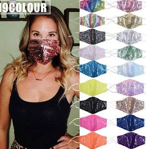Maschera viso del partito di Bling Paillette Wedding lucido Sparkly Glitter lavabili paillettes maschere di disegno del fronte 19 articoli KKA8120