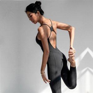 Oyoo sem mangas treino yoga jumpsuit stretch aptidão balé bodysuit macacão uma peça esporte conjunto mulheres esportes sutiã de ginástica 201104