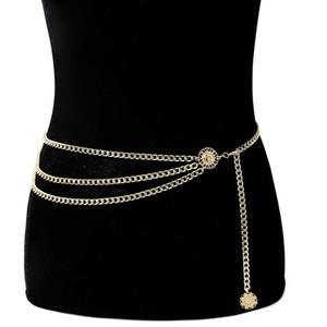 Waist Chain Coin Pendant Belt Retro Gold Belts for Women Waistbands All-match Multilayer Long Tassel Party Jewelry Dress