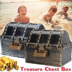 Pirate Style Retro Treasure Storage Box Kids Children Toys Box Treasure Chest Jewelry Case with 2 Lock C0116