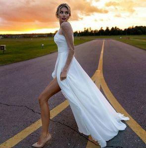 Aline Beach Wedding Dresses Jewel Neck Illusion Sleeve High Split Country Bridal Dress Custom Made Cheap Wedding Gowns