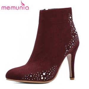 MEMUNIA 2020 wholesale big size 48 ankle boots for women round toe crystal elegant thin high heel party wedding shoes ladies